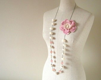 Anthea Wool Felted Flower long Necklace - Pink and Beige - Romantic - 2 WAYS to wear it