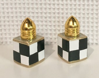 Mini salt and pepper set, painted salt and pepper shakers, black and white check salt pepper set