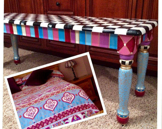 Whimsical Painted Furniture, Painted Farmhouse Bench//Whimsical painted bench//Alice in wonderland Checks custom whimsical painted furniture