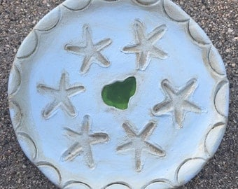 Starfish... Sea Glass Trinket Dish Handmade