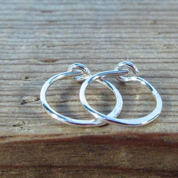 Hoop Earrings Sterling Silver Hammered - Hammered Hoop Earrings, Silver Hoop Earrings, Piercing Hoops, Helix Hoops, Tragus Hoops, Cartilage