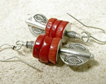 Red Coral Earrings, Ethnic Earrings, Metalsmith Earrings, Assemblage Earrings, Tribal Bead Earrings, Sterling Silver Earrings, Coral Jewelry