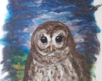 Original Wool Painting Magic Owl Needle Felted