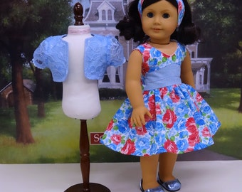 Spring Blossoms - Sleeveless Dress and Jacket for American Girl doll