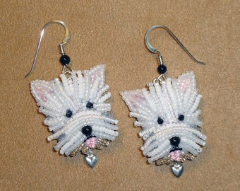 WESTIE LOVE beaded West Highland White Terrier keepsake bead embroidery dog earrings - Gift for Her / Ready to Ship/ Free US Shipping