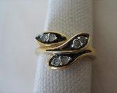 Black Rhinestone Gold Ring Leaf Vintage Clear 7