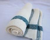Deep Moss-Green and White Bamboo Hand-Towel