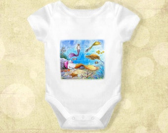 Baby Infant Creeper Onesie Bodysuit One Piece Cat Mermaid 31 Sea Turtle Ocean Fantasy art L.Dumas