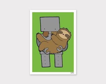 Sloth and Robot Print - Lime Green