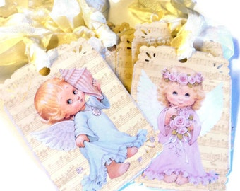 8 Gift Tags,  Sweet Little Angels, Music Notes Cream Background,  Hang Tags, Party Favor Tags