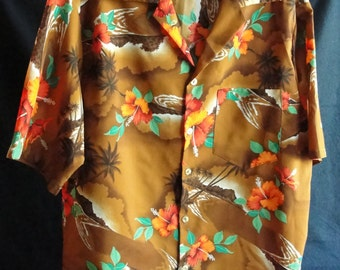 Vintage polyester mans Hawaiian shirt Size large 1970's Brown with Hibiscus flowers
