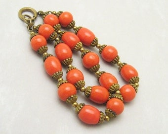 Vintage Art Deco Bracelet Coral Glass Antique Jewelry