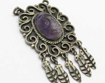 Sterling Amethyst Mask Pendant Taxco Eagle 3 HCE Jewelry C7186