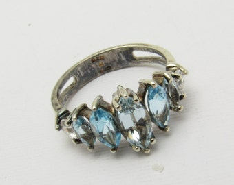 Sterling Blue Topaz Ring Marquise Band Vintage Jewelry R7235