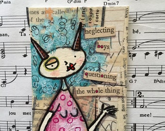 Original mixed media found poetry ACEO / ATC blue haired lady with horns