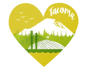 "Tacoma, Washington -- Limited Edition 12 x 12"" Screenprint"