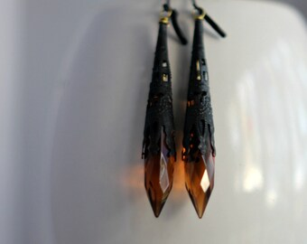 Amber and Black Crystal Earrings, Topaz Dangles, Black Filigree, Victorian, Noir, Gothic