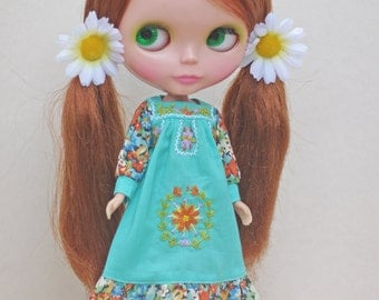 Pre-order Mexican Embroidery Maxi Dress for Blythe-Light Blue