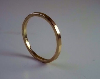 Solid 1.3mm 9ct Yellow Gold Faceted Ring, wedding ring, stackable ring, dress ring, simple ring