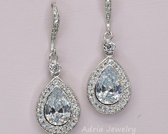 Crystal Bridal Earrings Rhinestone Wedding Earrings Tear Drop Earrings Pear Drop Earrings Classic Wedding Earrings Crystal Bridal Jewelry