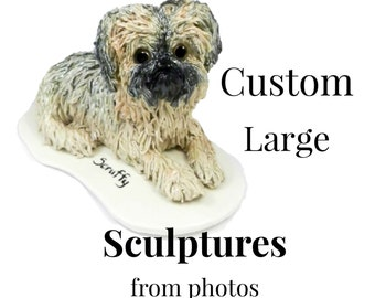 Dog Cat Custom Porcelain from Photos Large Figurine Sculpture OOAK