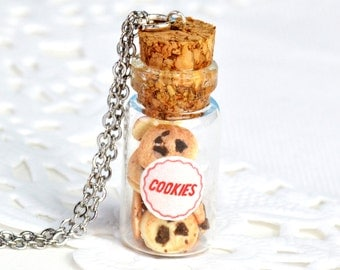 Cookie Jar Charm - Available on Necklace or Clasp - Choc Chip Cookies - Miniature Food Jewellery