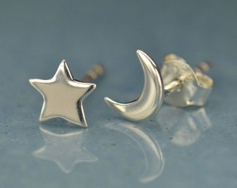 Sterling Silver Moon and Star Post Earrings - Solid 925 - Insurance Included
