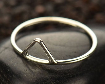 Sterling Silver Triangle Stacking Ring - Solid 925 - Insurance Included