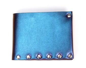 Blue Iridescent   Mens Wallet   Wallet   Bi-Fold   Card Holder   Durable Wallet   Money Holder   Wallet   Vegan Wallet   Made in USA