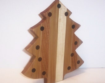 CHRISTmas Tree Cheese Cutting Board Handcrafted from Mixed Hardwoods