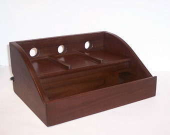 Charging Station / Docking Station (FREE  SHIPPING)  for  iPhone, cell phone, MP3 player  Handcrafted in Walnut with attached power strip