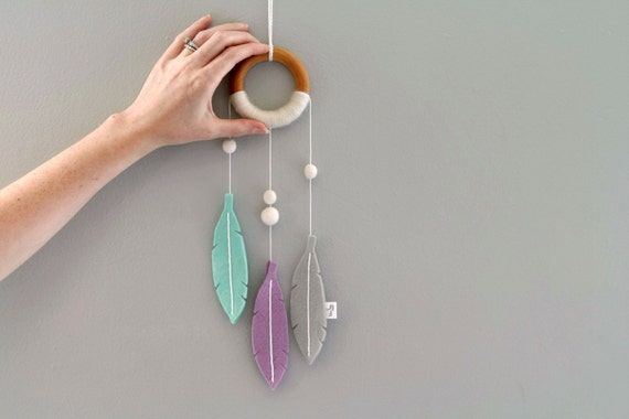 Felt Dream Catcher. Purple and Mint Girl Dream Catcher for Nursery or Bedroom. Small Modern Dream Catcher Decor. Handmade by OrdinaryMommy