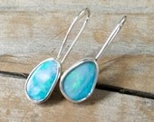 Opal french hook earrings light aqua color