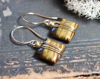 Tigereye Earrings Gold Wire Wrapped Honey Brown Gemstone Earrings 14k Gold Filled Square Bead Earrings