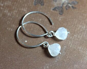 Moonstone Earrings White Gemstone Earrings Sterling Silver Hoop Earrings Rustic Jewelry