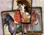 Wild Horses, Collage Sheet, Wild Horses Images, Horse Collage Sheet, Digital Tags, Junk Journal Tags, CalicoCollage, Cowgirl Images