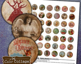 Holiday Collage Sheet, Digital Collage Sheet, Bottlecap Images, Christmas Images, Images for Pendants, Printable Images, Digital Sheet,