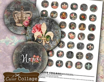 French Collage Sheet - Fluer De Lis Digital Collage Sheet - Bottle Cap Images - 1 Inch Circles - Craft Sheet - Printable Bottle Cap Images
