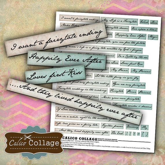 Fairytale Themed Altered Art Words Collage Sheet Decoupage Paper Word Images  Mixed Media Art Vintage Printable Calico Collage Graphics
