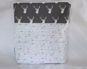 Wet bag, Arrows and Deer,cotton print,pul lined, 11 X 12  inch wet bag