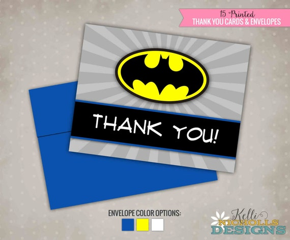 Batman Birthday Thank You Cards, Thank You Notes with Colored Envelopes #B105