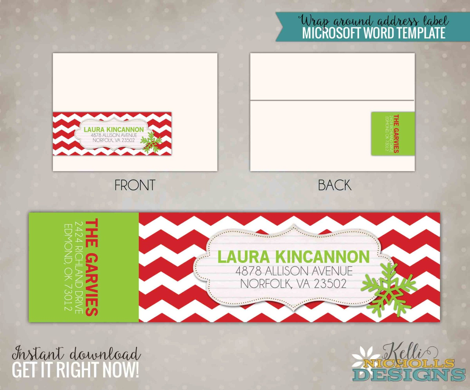 red chevron lime green wrap around address label template. Black Bedroom Furniture Sets. Home Design Ideas