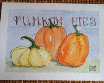 Pumpkin Pie Watercolor card