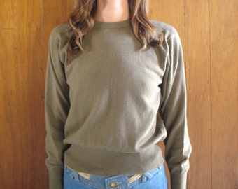 ARMY GREEN DOLMAN sleeve merino wool sweater, s