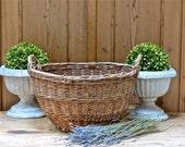 Vintage Lovely French Large Round Market Basket