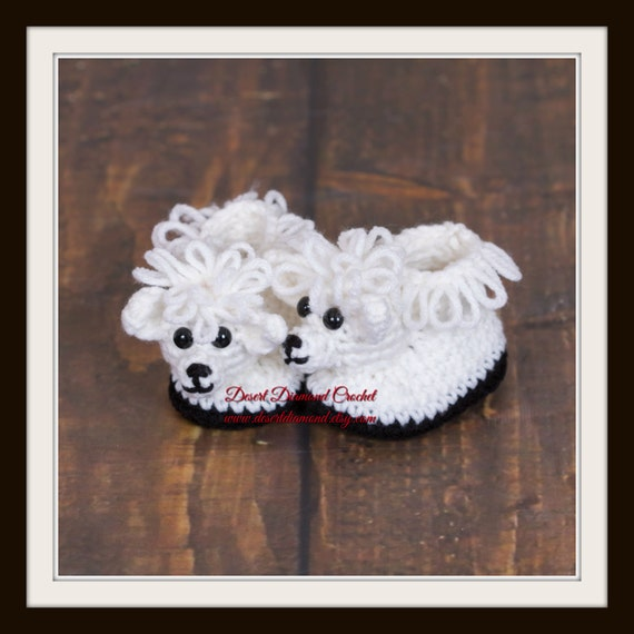 Crochet Pattern 119 - Sheep Baby Booties - 5 Sizes
