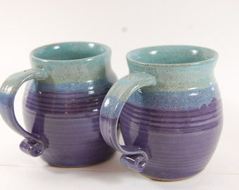 Large Pottery Mug, Curled Handles, turquoise with purple grape glaze