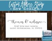 Custom  Address Stamp - Custom Calligraphy Stamp - Handwriting Script - Personalized SELF INKING Wedding Stationery Stamper - (175)