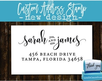 Custom Return Address Stamp - Custom Calligraphy Stamp - Handwriting Script - Personalized SELF INKING Wedding Stationery Stamper - (1162D)