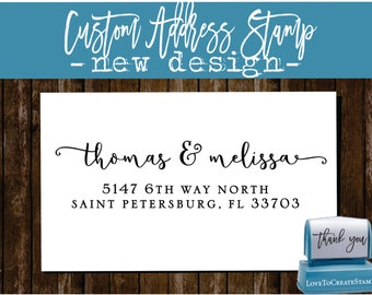 Custom  Address Stamp - Custom Calligraphy Stamp - Handwriting Script - Personalized SELF INKING Wedding Stationery Stamper - (175)